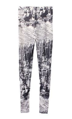 Grey Retro City Pattern Slim Leggings  #SheInside