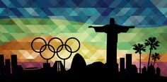 Interesting Olympics 2016 wallpaper including black Rio de Janeiro's main landmarks and Olympic symbols: Olympic rings, stadium, Christ the Redeemer,