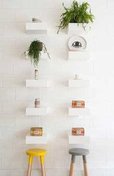 Nora Café —Carlton, Melbourne #shelf #display #cafe #white Cafe Interior Design, Cafe Design, Carlton Melbourne, Bagel Bar, Cafe Interiors, Shelf Display, Wall Patterns, Wall Treatments, Retail Design