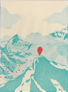 Montagne Evelyne Mary Linogravure
