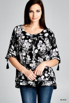 Floral Print Blouse - Black
