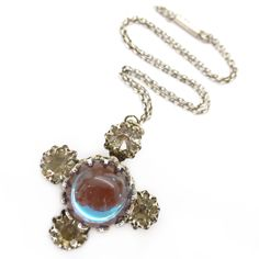 Vintage Art Deco Saphiret Glass Faceted Cross Pendant Brooch    Clarice Jewellery   Vintage Costume Jewellery