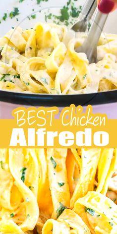 Yummy Pasta Recipes, Quick Dinner Recipes, Easy Chicken Recipes, Delicious Meals, Yummy Food, Homemade Chicken Alfredo, Creamy Chicken Pasta, Baked Chicken, Alfredo Recipe