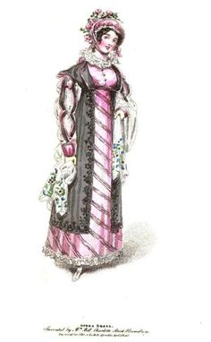 La Belle Assemblee, Opera Dress, 1816.  This is one crazy dress! Those diagonal stripes are really unexpected, especially paired with the black pelisse and colorful shawl! I like it!