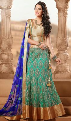 Cyan Blue Embroidered Net Lehenga Cholie Price: Usa Dollar $133, British UK Pound £78, Euro98, Canada CA$145 , Indian Rs7182.