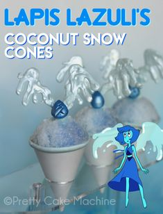 Recipe: (Steven Universe Dessert Series, Pt. 8) Lapis Lazuli's Coconut Snow Cones | Pretty Cake Machine