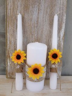 Unity Candle Set Sunflower wedding Rustic Candles burlap Lace Candle Wedding ceremony / http://www.himisspuff.com/country-sunflower-wedding-ideas/8/