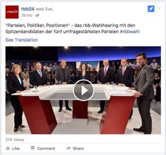 Berlin state elections debate streamed on FB Live