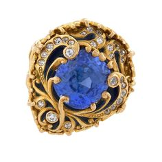 Marcus & Co. Old European Enamel Blue Sapphire Diamond Gold Ring   See more rare vintage More Rings at https://www.1stdibs.com/jewelry/rings/more-rings