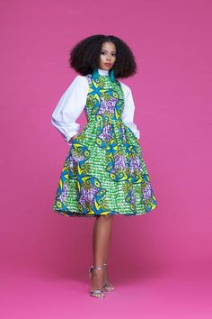 African Print Salima Midi Dress