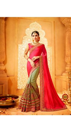 Green and Pink Color Art Silk Saree for Party, Traditional Function, Occasion, Ceremony, Reception, Mahendi, Sangeet