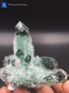 146g Clear and Perfect Green ghost quartz Crystal Cluster mineral specimen*1792