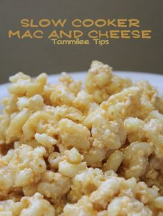 Slow Cooker Mac and Cheese - I'd use 1/2 the cheese, 1/2 the butter and add a container of cottage cheese to cut calorie but sounds good and simple.