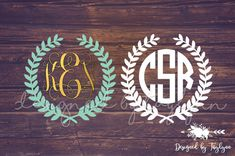 Laurel Wreath Monogram, Wreath Monogram, Laurel, Monograms, Vinyl Decal, Decal, Yeti Decal, Car Decal, Wedding Party Gifts, Tumbler Decal