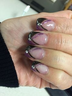 Purple and black French with rhinestones
