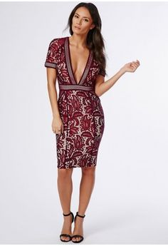 We are lusting for luxe lace this season here at Missguided and we've got our eye on this burgundy midi dress. With lavish lace covering the nude underlay, short sleeves, flirtatious deep plunging V neckline and hints of fishnet detailing a...