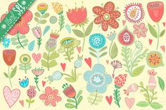 Check out Big floral set. by marushabelle on Creative Market