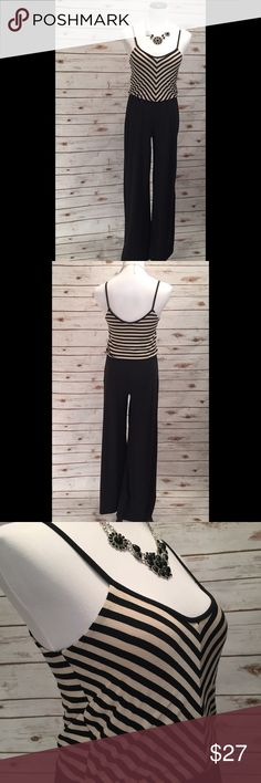 Black and Tan Striped top Jumpsuit NWT. Inseam: 32in. Comfy and chic is a combination you just can't beat!   📦Fast Shipping! 💌Packaged with care 🛍10% off bundles!   ⭐️20% of earnings are donated to the A21 campaign that works toward ending human trafficking in the 21st century⭐️  ❣️27 MILLION slaves worldwide- Most in history! 💔1-2% of victims are ever rescued ❣️The average age of a trafficking victim is 12 YRS OLD! 💝Every [1] Matters! Soul harmony energy Other