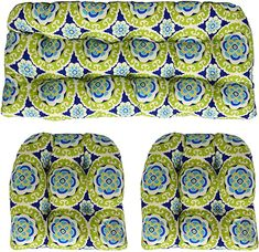 "Amazon.com: RSH Décor - Indoor Outdoor 3- Piece Tufted Wicker Cushion Set (1- (41"" x 19"") & 2- (19"" x 19"") Cushions, Halina Wasabi Blue Green & White Bohemian Floral): Home & Kitchen Wicker Furniture Cushions, Outdoor Cushions, White Bohemian, Paisley Fabric, 3 Piece, Indoor Outdoor, Blue Green, Amazon, Retro"