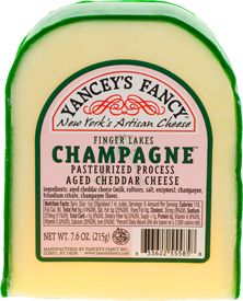 Champagne Cheddar-Champagne from the Finger Lakes Region of Upstate NY gives this aged cheddar a light and slightly sweet flavor that is guaranteed to enchant your taste buds.