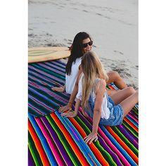 Serape Blanket Purple Rainbow