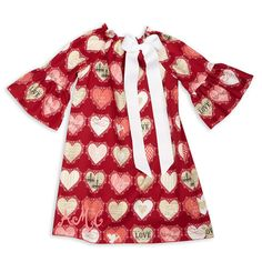 Girls Red Pink Love Hearts Charlotte Dress – Lolly Wolly Doodle