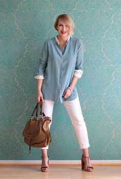 A fashion blog for women over 40 and mature women Blouse + Sandals: Dorothee Schumacher Pants: NYDJ Bag: Chloé