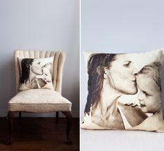 Belgian linen bespoke photo pillow by OHHSIT!   photo © Brittan Goetz / India Hicks