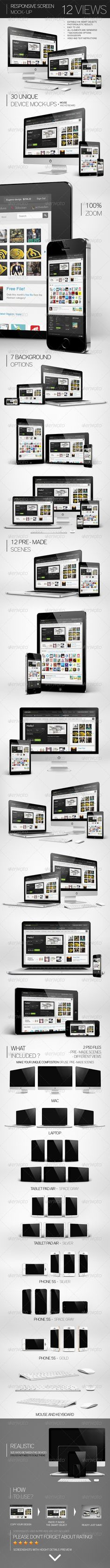 Responsive Screen Mock-Up :  Check out this great #graphicriver item 'Responsive Screen Mock-Up' http://graphicriver.net/item/responsive-screen-mockup/7414672?ref=25EGY