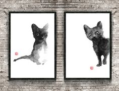 Black Cats Art Two Cat Illustration Custom Pet by ColorWatercolor