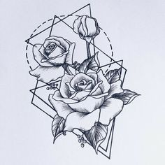 #geometric #tattoo #flower #roses