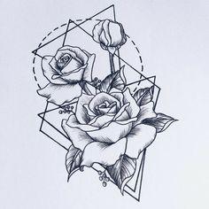 #geometric #tattoo #flower #roses