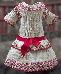 "Antique Original French Cotton Dress with red embroidery for Jumeau Bru Steiner Eden Bebe doll about 18-19""  (46-48 cm)"