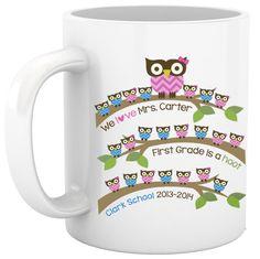 Personalized school hoot owl teacher gift coffee mug by zoeysattic