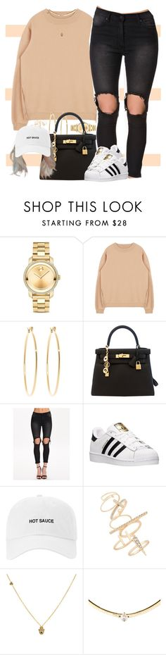 """You Know I Got The Sauce"" by oh-aurora ❤ liked on Polyvore featuring Movado, Brooks Brothers, Hermès, UNIF, adidas and Topshop"