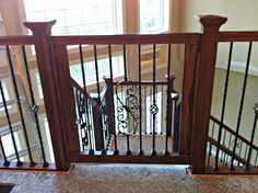 Custom Gate for Stairs - Great as dog gate & baby gate. Designed to match… Dog Gates For Stairs, Stair Gate, Wooden Dog Gates, Wooden Stairs, Diy Dog Gate, Pet Gate, Custom Gates, Building Stairs, Baby Gates
