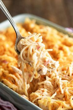 This Ultimate Chicken Spaghetti is my favorite comfort food. The gooey, cheesy perfection just can't be beat! And it's so easy to make! I even got all the ingredients at my local @FamilyDollar store! #recipe #spaghetti #chicken