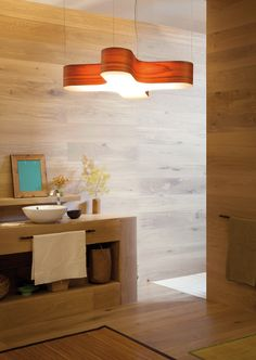 LZF Lamps  X-Club, Medium Suspension Lamp. Natural Bathroom   Wood touched by Light   Handmade Wood Lighting since 1994