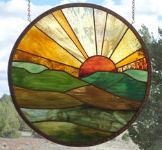 stained glass window panelFOREVER SUNSET 6