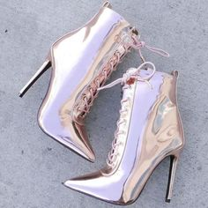 Online Fashion Retailer Shoes – Up To Off Sitewide Pointy Metallic Stiletto Booties High Heels Boots, Lace Up Heels, Pumps Heels, Heeled Boots, Stiletto Heels, Shoe Boots, Very High Heels, Men's Boots, Rain Boots