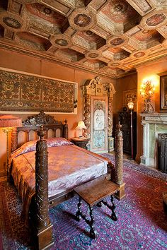Hearst Castle Bedroom with ceiling from a Spanish Castle
