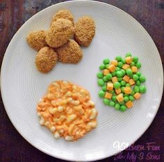 April Fool's Day Dinner - found via Kitchen Fun with my 3 sons. That is NOT Mac n' Cheese, Frozen peas/carrots and chicken nuggets.