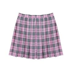 PINK GRID TENNIS SKIRT (67 PEN) ❤ liked on Polyvore featuring skirts, bottoms, pink, plus size tartan skirt, pleated skirt, purple pleated skirt, plus size plaid skirt and purple skirt