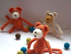 Crochet monkey with felt face orange ivory brown children toy Amigurumi gift fun fantasy safari nursery