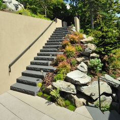 Use concrete steps in a tight spot outdoors, but soften with landscaping