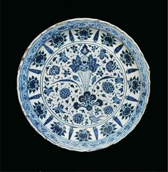 An important early Ottoman blue and white pottery dish, probably Edirne or Bursa, mid 15th century