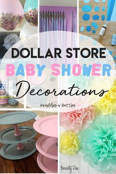 Dollar Store Baby Shower Decoration Hacks! Great ideas for baby shower on a budget, both boy and girl! Plus, tips on how to save money when hosting.