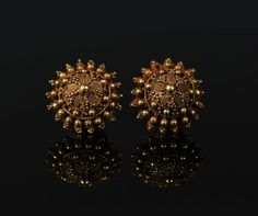 Pair of Thai Gold Ear Ornaments with Granulation. Ethnic Jewelry, Antique Jewelry, Gold Jewelry, Jewellery, Tribal Art, Gold Earrings, Jewelry Collection, Eye Candy, Fashion Jewelry