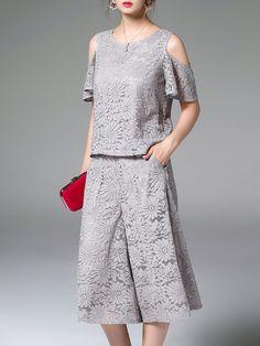Shop Jumpsuits - Gray Cold Shoulder Short Sleeve Two Piece Jumpsuit online. Discover unique designers fashion at StyleWe.com.