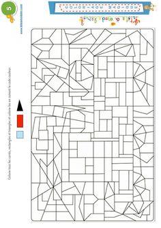 Coloriage magique 5 : triangles, carrés et rectangles
